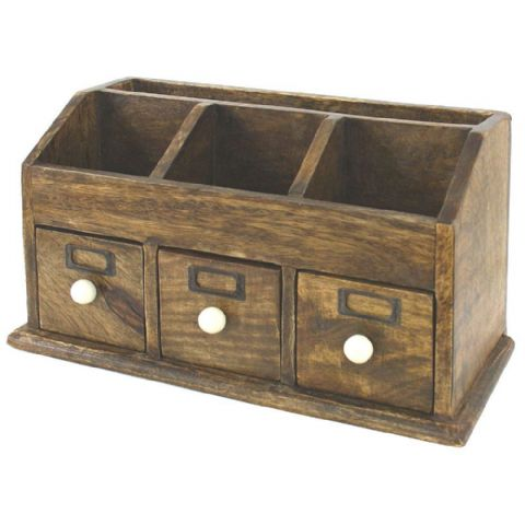 Wooden Remote Control & Memory Card / Stick Storage Rack & Drawers